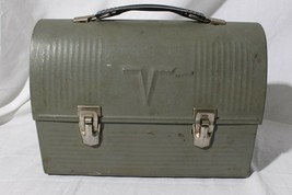 Vintage American Thermos Army Green Metal Lunch Box w/ Thermos - $79.15