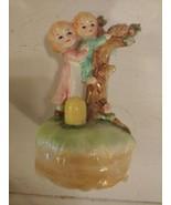 Vintage Lefton Japan Hand Painted Music Box Somewhere My Love Boy & Girl... - $24.70