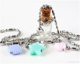 Cute Bottle Necklace, Pastel Colors, Resin Jewelry, Summer, Handmade, Fa... - $16.00