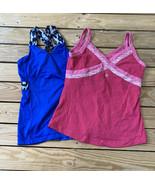 lot of 2 lululemon women's athletic tank Top Size S Blue Pink N7 - $24.65