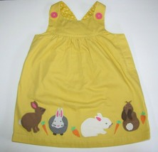 NEW NWOT Mini Baby Boden Girls Easter Bunny Rabbit Yellow Jumper Dress 1... - $25.73