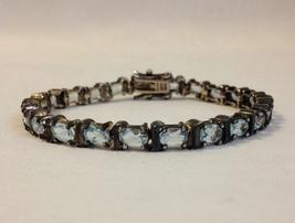 Silver Tennis Bracelet Link Blue Oval Faceted Gemstones Topaz? Vintage J... - $65.00