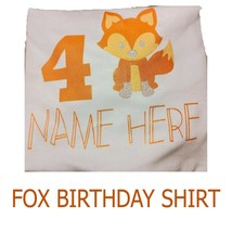 Fox Custom Birthday T Shirt Personalized Name and Age - $14.97