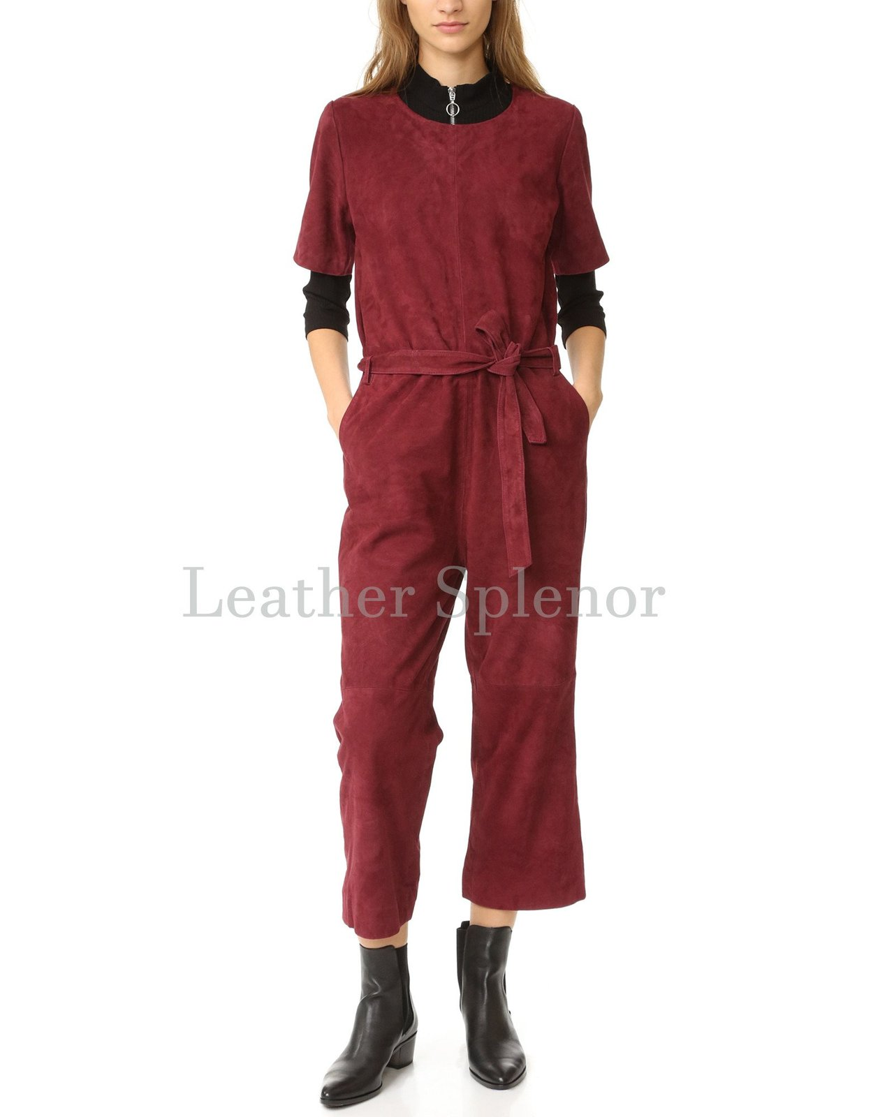 Corporate Style Suede Leather Jumpsuit
