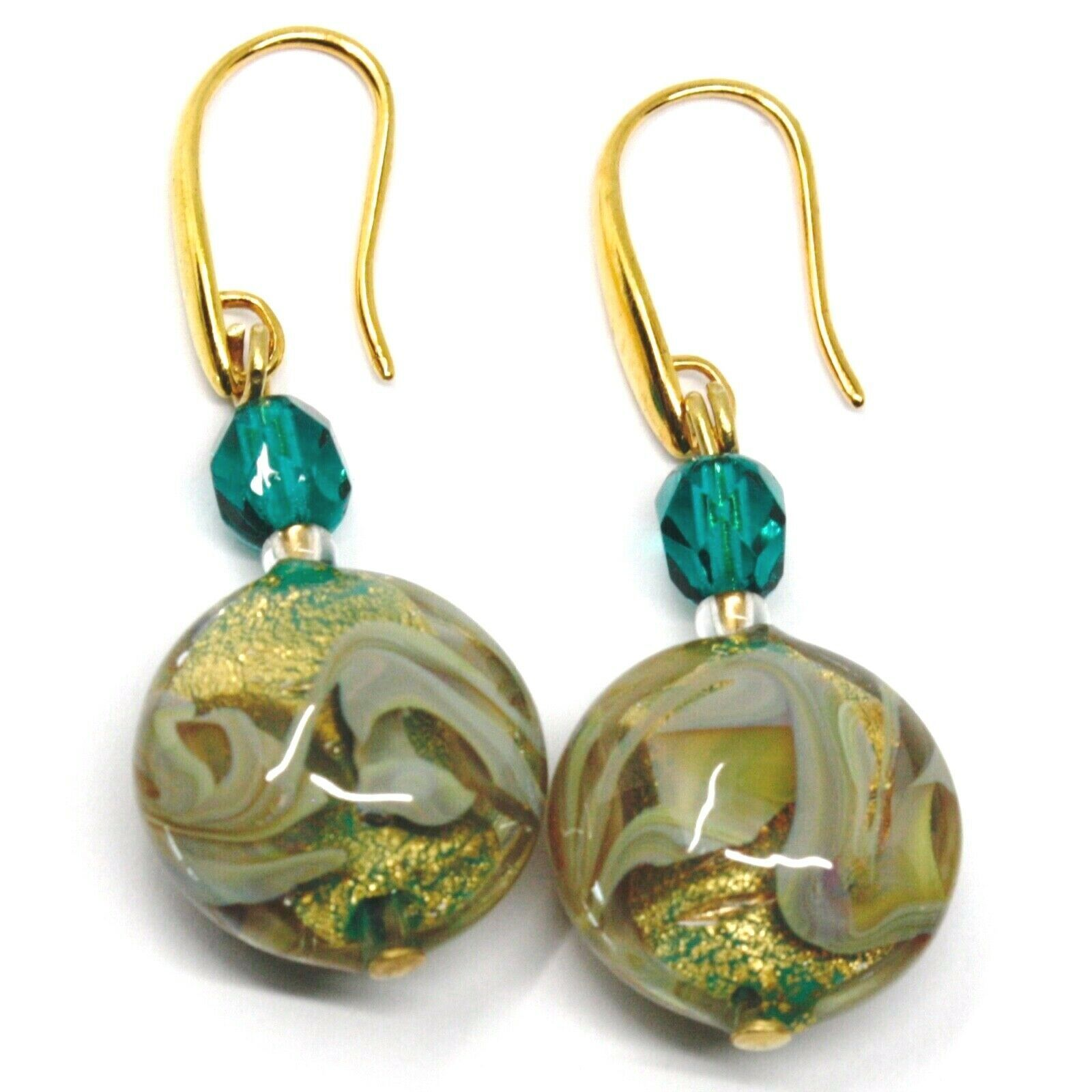 PENDANT HOOK EARRINGS GREEN YELLOW DISC MURANO GLASS GOLD LEAF MADE IN ITALY