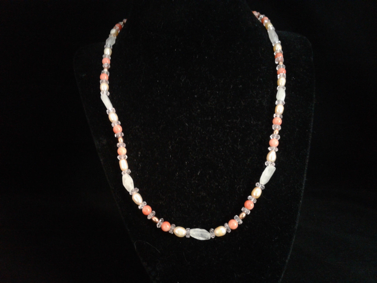 """19-20"""" Necklace, Rose Quartz, Peachy Coral, Freshwater Pearl, Crystal, Handmade"""