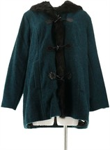 Dennis Basso Toggle Front Tweed Coat Faux Fur Trim Dark Teal XL NEW A284848 - $115.81