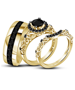 Black Diamond His Her Wedding Anniversary Trio Ring Set 14k Gold Over 92... - £94.34 GBP
