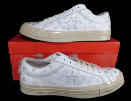 cc17503d35349d Converse One Star 74 Ox Leather WHITE Embroidered Polka Dots 155717C RARE!  - £84.20