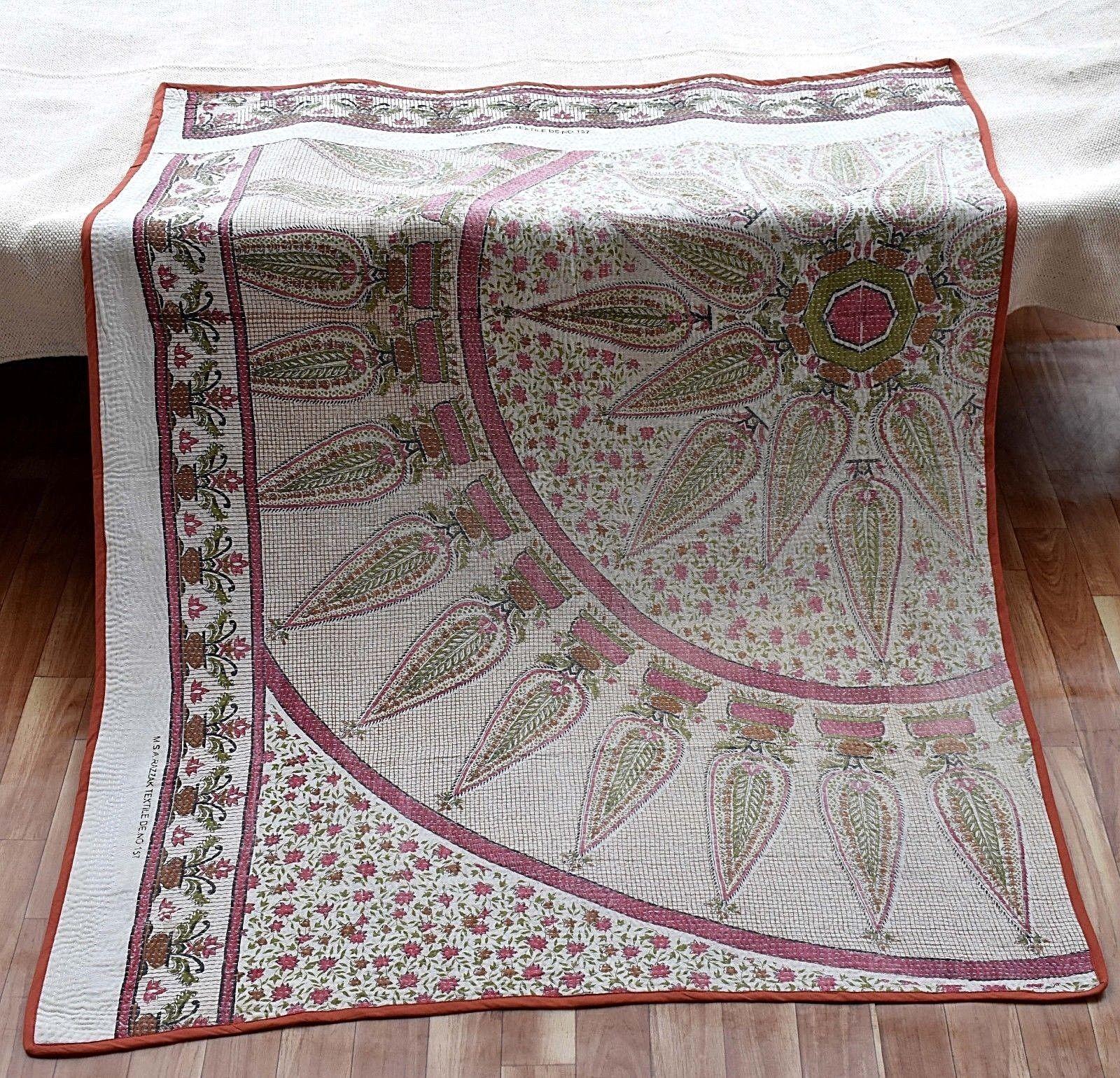 100% Cotton Handmade Indian Baby Kantha Quilt Geometric Recycled Sari Fabric