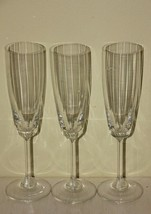 """Three 8 3/4"""" Optic Glass Crystal Champagne Flutes - $24.75"""