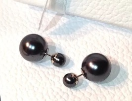 Auth Christian Dior Tribal Earrings Black Dark Gray Double Pearl
