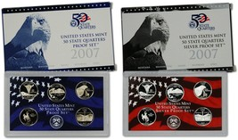 2007 Clad and Silver Proof State Quarter Sets Original US Mint Packaging... - $42.98
