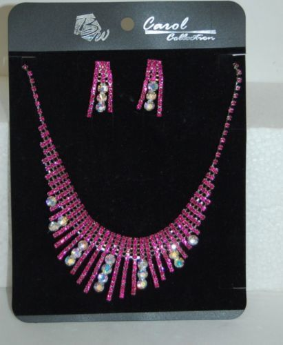 BW Carol Collection Pink Colored Stones Larger Clear Rhinestones Necklace Set