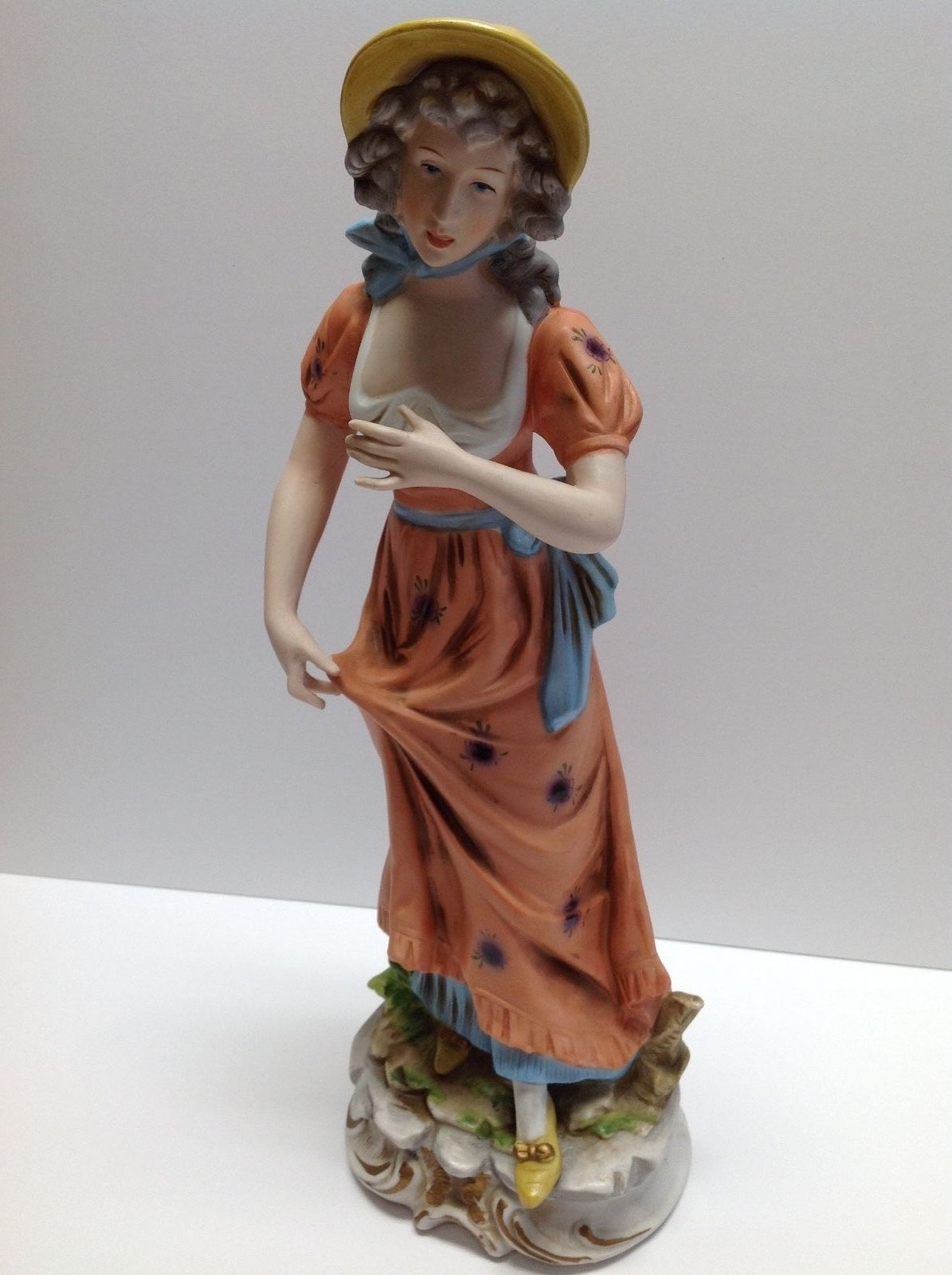 """Rare Vintage Enesco Japan Porcellain Lady Victorian Very Tall 15 1/2"""" Inches"""