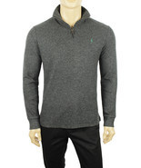 NEW MENS POLO RALPH LAUREN HALF ZIP MOCK NECK GREY PULLOWER SWEATER $145 - ₹4,273.19 INR