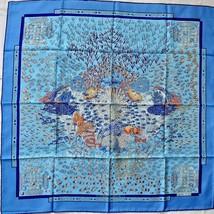 Hermes Scarf Stole Rencontre Oceane Annie Faivre Blue Silk Auth New Unus... - $392.39