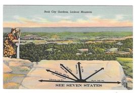 TN Rock City Garden Lookout Mountain See Seven States Vintage Linen Postcar - $4.99