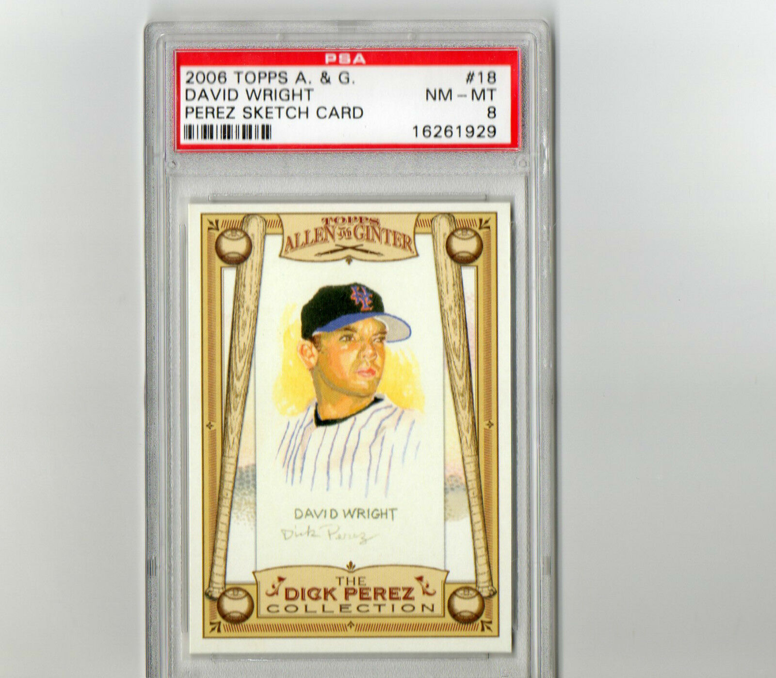Primary image for 2006 Topps Allen & Ginter David Wright Perez Sketch Card #18 PSA 8 P542