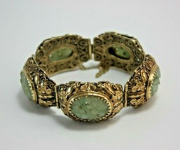 14K Gold Bracelet With Carved Jade Chinese Export Vintage Hallmarked - $3,460.05