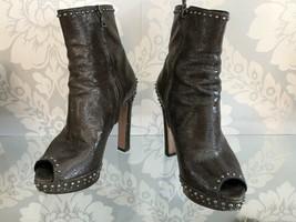 PRADA Olive Peep Toe Ankle Boots with Studs Sz 36.5 $975 - $389.96