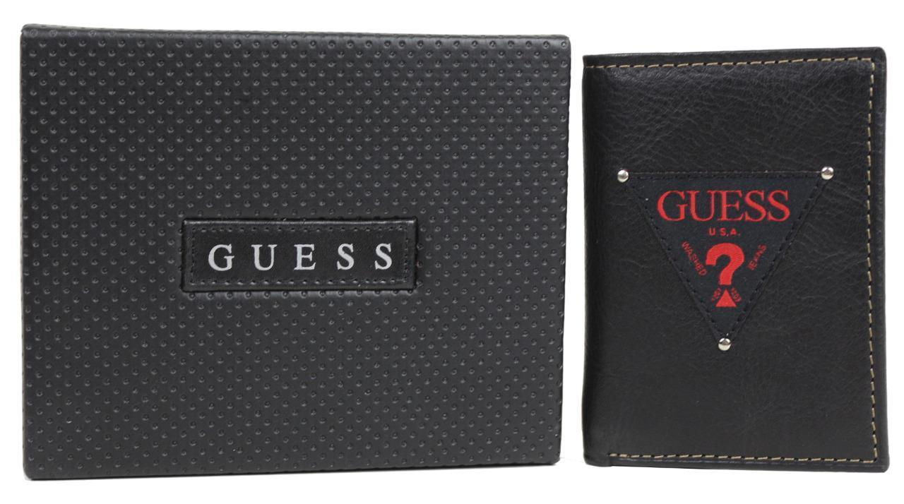 NEW GUESS LEATHER TRIFOLD CREDIT CARDS CASE ID MEN'S WALLET BLACK/RED 31GU11X017