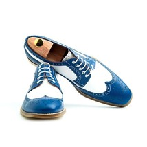 Handmade Men's Blue & White Wing Tip Brogues Toe Dress/Formal Oxford Leather SHo image 2
