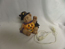 "HALLOWEEN LIGHTED WHICH BEAR WITH CAT  APPX 10"" - £7.22 GBP"