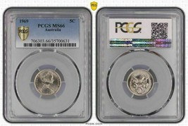 1969 Australia 5 Cents PCGS MS66 Light Toned Gem - $45.05