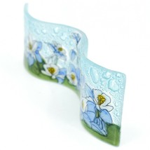 Fused Art Glass Blue Columbine Flower Floral Wavy Sun Catcher Handmade Ecuador image 2