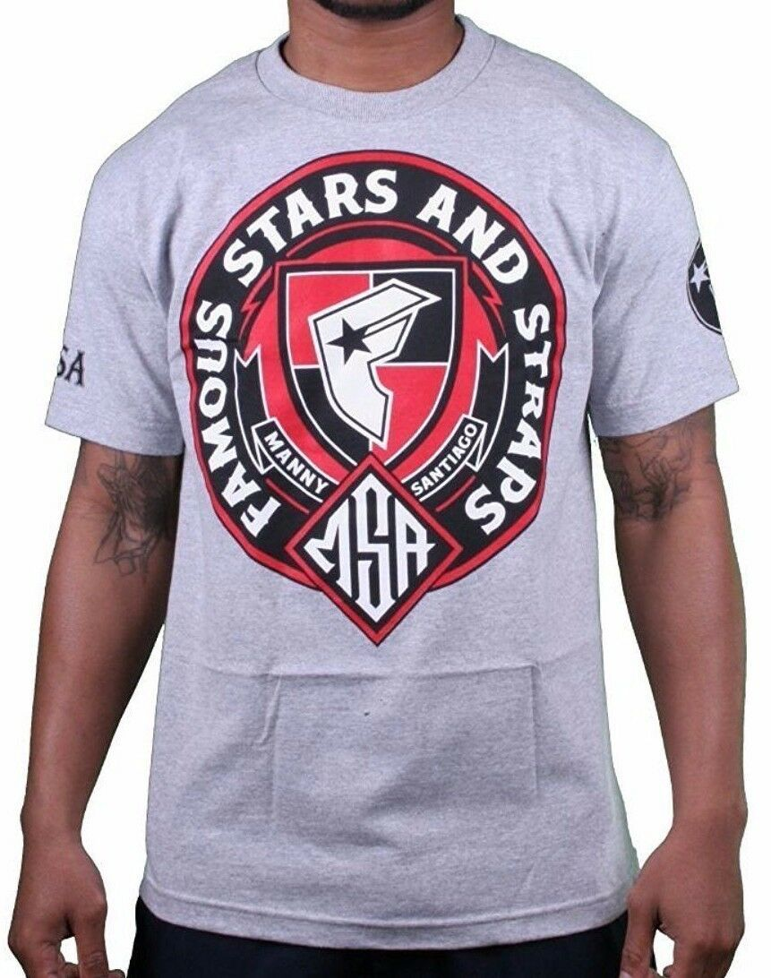 Famous Stars & Straps X Msa Honneur Manny Santiago Skateboard Gris T-Shirt Neuf