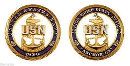 "SENIOR CHIEF PETTY OFFICER SCPO NAVY ANCHOR UP 1.75"" CHALLENGE COIN - $16.24"