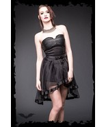 Women's Black Short Strapless Fetish Goth Party Dress Alternative Fashion - $79.07