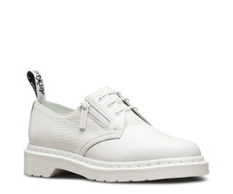 Doc Martens Off-White Side Zipper Textured Leather Airwair Oxfords WMS 8... - $72.99