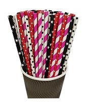 Gentle Meow 100 Pack Red Rose Red Black Series Disposable Drinking Straws Party  - $17.23