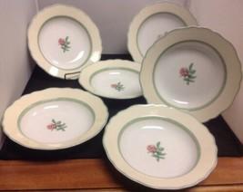 "Wedgwood English Cottage CREAM Set of 6 - 9 1/8"" Rimmed Soup Bowls - $77.40"