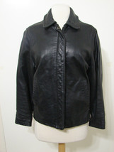 GUESS Motorcycle Jacket Soft Black Leather Zip & Snap Front S - $269.99