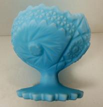 VTG Custard Blue Satin Milk Glass Fenton Pedestal Dish Bowl Pinwheel pattern - $30.89