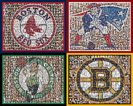 Boston Sports Mosaic Print Art using Player Photos from four teams-16x20... - $126.00+