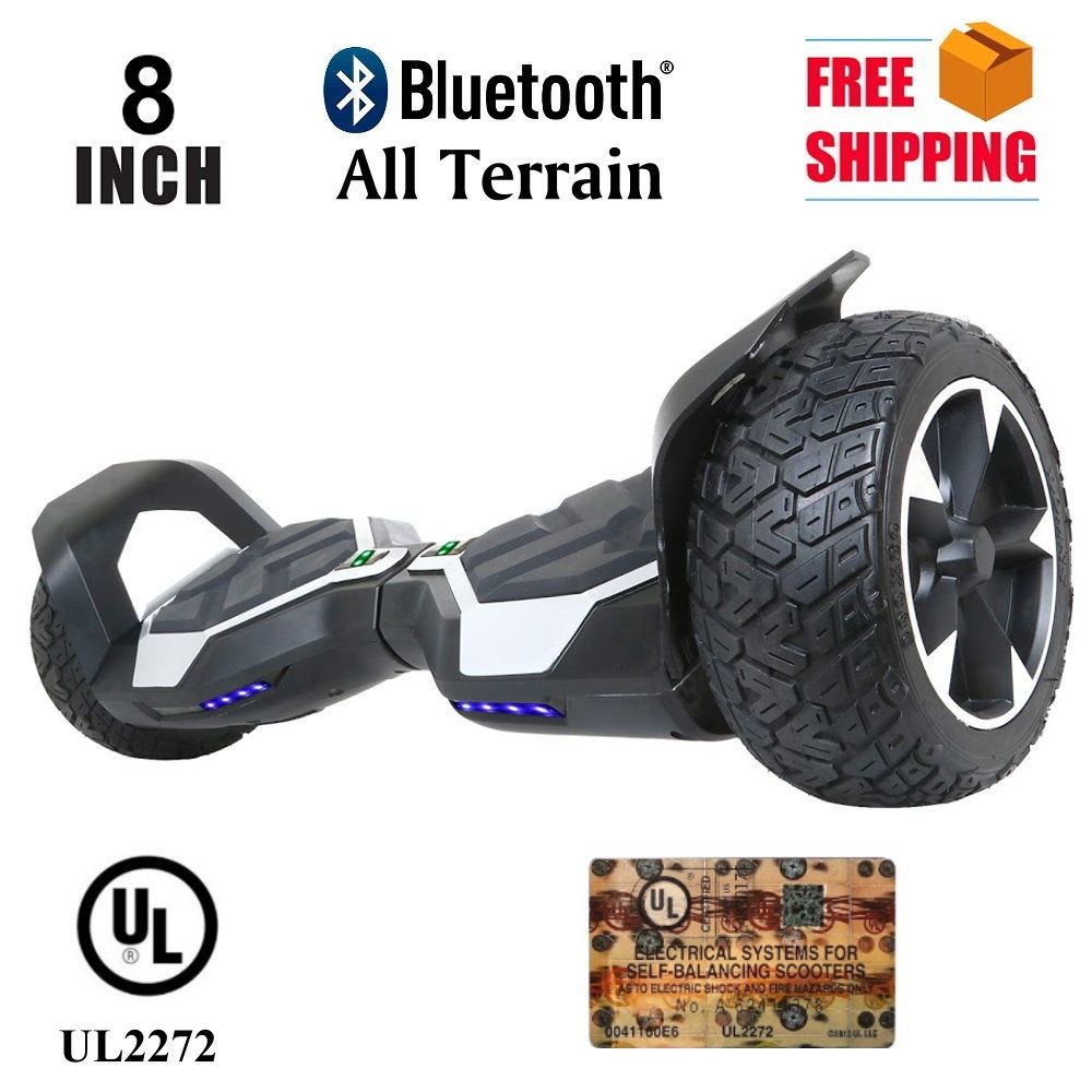 "Silver All Terrain 8.5"" Bluetooth Off Road Hoverboard High Speed Scooter"