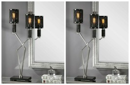 TWO INIGO ACCENT TABLE LAMPS MODERN INDUSTRIAL LOOK BRUSHED NICKEL MESH ... - $585.20