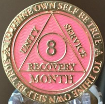 8 Month AA Medallion Reflex Pink Gold Plated Sobriety Chip Coin - $18.99