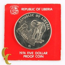 1974 Liberia $5 Dollar Coin (Proof, PF) 0.900 Silver Bull Elephant Five ... - $74.25