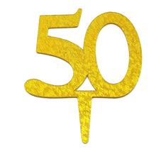 "50th Birthday Anniversary Cake Top Acrylic Gold Sparkle Topper 4"" - $7.43"