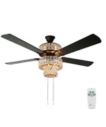 "River of Goods 52"" Antique White and Champagne Crystal Ceiling Fan with ... - $399.99"