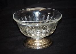 Old Vintage Round Divided Candy Nut Dish Cut Glass Vertical w Silver Pla... - $14.84