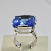 Ring Band Silver 925 Rhodium with Crystal Blue Square Faceted image 1