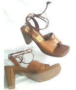 Fioni Leather Womens 10 Brown Leather Chunky Heel Ankle Tie Open Toe Shoe - $23.33