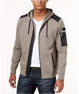 $65 INC International Concepts Men's Clique Mixed-Media Hoodie, Taup Ton... - $29.69