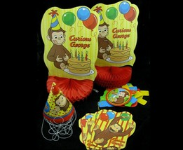 Curious George Party Set Happy Birthday Banner 8 Hats Honeycomb Centerpi... - $7.91